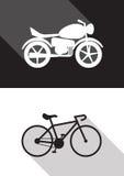 Moto y bicicleta Foto de archivo