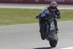 Moto2 test at Jerez racetrack - Day 2. JEREZ DE LA FRONTERA, SPAIN, FEBRUARY 19, 2014: The French pilot Johann Zarco during training Moto2 2014 on the racetrack Royalty Free Stock Images