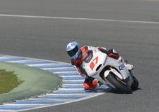 Moto2 test at Jerez racetrack - Day 2. JEREZ DE LA FRONTERA, SPAIN, FEBRUARY 19, 2014: The Spanish rider Roman Ramos during training Moto2 2014 on the racetrack Royalty Free Stock Image