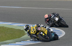 Moto2 test at Jerez racetrack - Day 2. JEREZ DE LA FRONTERA, SPAIN, FEBRUARY 19, 2014: Swiss rider Thomas Luthi (L) and the French rider Johann Zarco (R) during Stock Photos