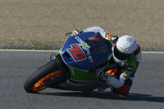 Moto2 test at Jerez racetrack - Day 2. JEREZ DE LA FRONTERA, SPAIN, FEBRUARY 19, 2014: The Swiss pilot Robin Mulhauser during training Moto2 2014 on the Stock Photography