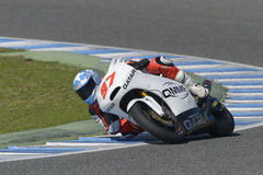Moto2 test at Jerez racetrack - Day 2. JEREZ DE LA FRONTERA, SPAIN, FEBRUARY 19, 2014: The Spanish rider Roman Ramos during training Moto2 2014 on the racetrack Royalty Free Stock Photos