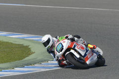 Moto2 test at Jerez racetrack - Day 2. JEREZ DE LA FRONTERA, SPAIN, FEBRUARY 19, 2014: TheBelgian npilot Xavier Simeon during training Moto2 2014 on the Stock Photos