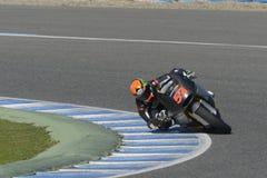 Moto2 test at Jerez racetrack - Day 2. JEREZ DE LA FRONTERA, SPAIN, FEBRUARY 19, 2014: The Spanish pilot Esteve Rabat during training Moto2 2014 on the Royalty Free Stock Photography