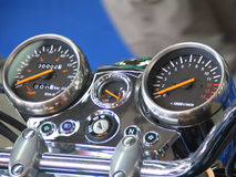 Motobike command table. Powerful motorcycle command table with blurred background royalty free stock image