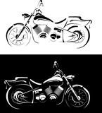 Motobike is geïsoleerd$ op witte en zwarte achtergrond Royalty-vrije Stock Afbeeldingen