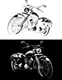 Motobike è isolato su priorità bassa bianca e nera Fotografia Stock