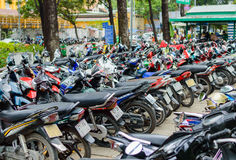 Motobikes on the parking Stock Images