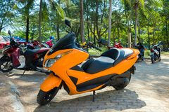 Motobikes - popular transport for rent in Thailand and other Asian countries. Phuket, Thailand - February 3, 2017: Motobikes - popular transport for rent in Stock Photography