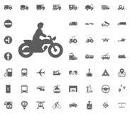 Motobyke-Ikone Gesetzte Ikonen des Transportes und der Logistik Gesetzte Ikonen des Transportes Stockbild