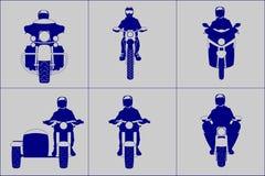 Motocicleta amável diferente com grupo do ícone da opinião dianteira dos cavaleiros Imagens de Stock Royalty Free
