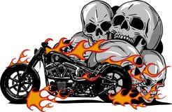 Motocicleta ardente dramática tragada em chamas alaranjadas impetuosas ferozes e em faíscas de explosão do fogo ilustração royalty free