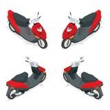 Motocicleta, bicicleta, velomotor, 'trotinette' Ícone de alta qualidade isométrico liso do transporte da cidade 3d Imagens de Stock Royalty Free