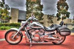 Motocicleta clásica de la V-barra de Harley Davidson del americano Imagen de archivo