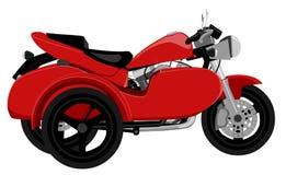 A motocicleta clássica com estilo dos grafittis da opinião lateral do side-car isolou a ilustração Fotos de Stock