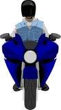 Motocicleta clássica com opinião dianteira do cavaleiro ilustração do vetor