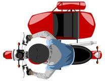 A motocicleta clássica do carro lateral com cavaleiro isolou a vista superior ilustração royalty free