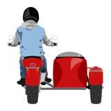 A motocicleta clássica do side-car com estilo dos grafittis da opinião da parte traseira do cavaleiro isolou a ilustração Imagens de Stock Royalty Free