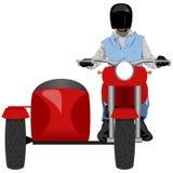 Motocicleta clássica do side-car com opinião dianteira do cavaleiro ilustração do vetor
