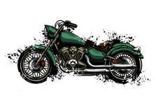 Motocicleta colorida de la acuarela del ejemplo aislada en blanco fotos de archivo