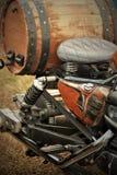 Motocicleta com madeira Foto de Stock Royalty Free