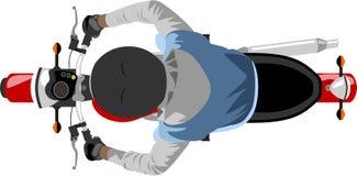 Motocicleta com opinião superior do cavaleiro ilustração stock