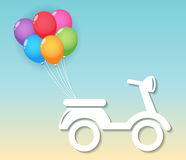 Motocicleta con los globos Fotos de archivo libres de regalías