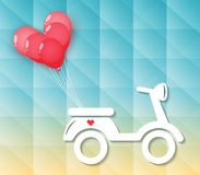 Motocicleta con los globos rojos del corazón Imagenes de archivo