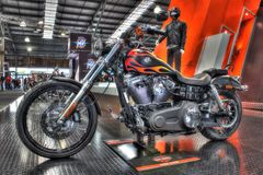 Motocicleta construida americana pintada aduana de Harley Davidson Imagen de archivo libre de regalías