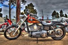 Motocicleta construida americana pintada aduana de Harley Davidson Imagen de archivo