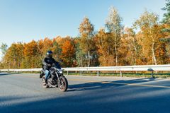 Motocicleta da equitação do motorista na estrada vazia na floresta bonita do outono foto de stock