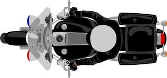 Motocicleta da polícia com opinião superior do polícia ilustração do vetor