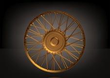 Motocicleta da roda do ouro em um preto ilustração stock