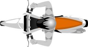 Motocicleta de Enduro com opinião superior do cavaleiro ilustração do vetor