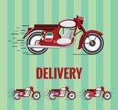 Motocicleta 1960 de la escuela vieja para la entrega de la comida Fotografía de archivo