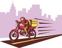 Motocicleta de la salida del mensajero Fotos de archivo libres de regalías