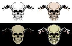 Motocicleta del manillar con la cabeza del cráneo Imagen de archivo libre de regalías