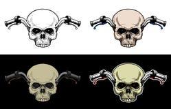 Motocicleta del manillar con la cabeza del cráneo sin el maxilar inferior Fotos de archivo