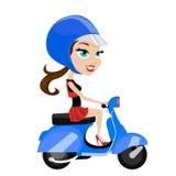 Motocicleta del montar a caballo de la muchacha Imagenes de archivo