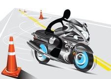 Motocicleta del montar a caballo del hombre de la sombra Fotografía de archivo libre de regalías