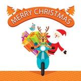 Motocicleta del montar a caballo del reno con Santa Claus libre illustration