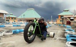 Motocicleta del trike de la deriva Fotos de archivo libres de regalías