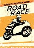 Motocicleta del vintage que compite con el cartel Imagen de archivo libre de regalías