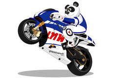 Motocicleta do estilo de vida da panda Fotos de Stock Royalty Free