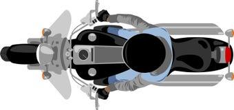 Motocicleta do interruptor inversor com opinião superior do cavaleiro ilustração stock