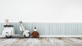 Motocicleta do vintage com girafa da boneca e baer em floor-3D de madeira Imagem de Stock Royalty Free