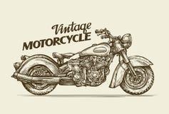 Motocicleta do vintage Velomotor retro tirado mão do esboço Ilustração do vetor Foto de Stock Royalty Free