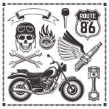 Motocicleta e atributos de elementos dos motociclistas ilustração do vetor