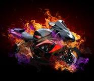 Motocicleta em flamas selvagens ilustração royalty free