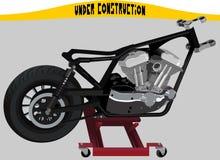 Motocicleta em um elevador no processo de montagem ilustração royalty free